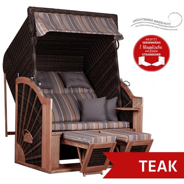 Strandkorb deVries PURE® Classic XL SUN PE stone grey Dessin 403 TEAK
