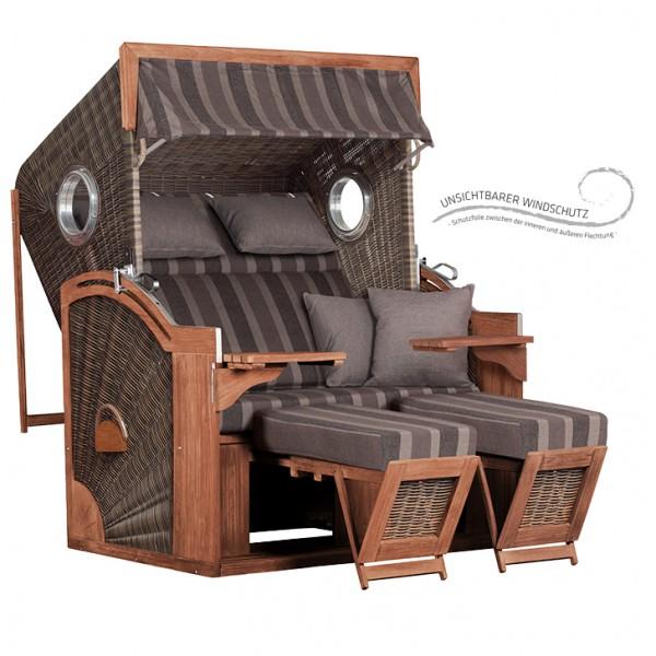 Strandkorb deVries PURE® Seaside XL antique brown Dessin 402 TEAK