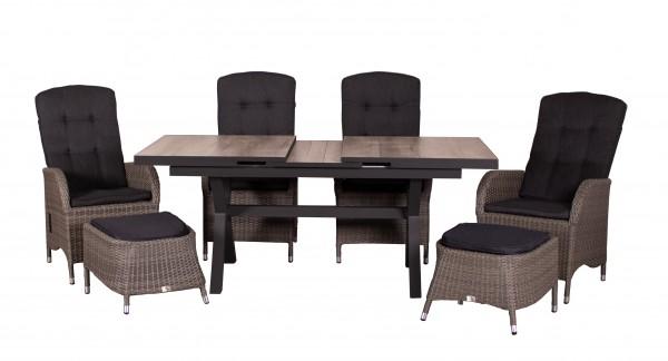 JUAN SET 4 Relaxsessel + 2 Fußhocker, smokey grey + 1 Montana Ausziehtisch 160/210 x 100 cm