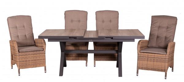 JUAN SET 4 Relaxsessel, spotted brown + 1 Montana Ausziehtisch 160/200 x 100 cm