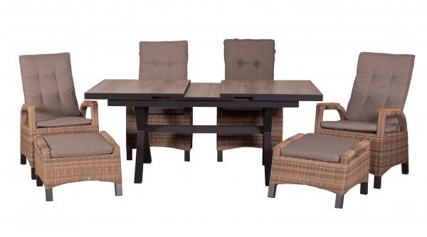 MONTANA-SET 4 Relaxsessel TEAK + 2 Fußhocker, spotted brown + 1 Ausziehtisch 160/210 x 100 cm