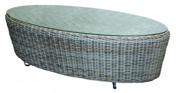 Cordoba Loungetisch oval 130x73 cm 6mm kubu grey