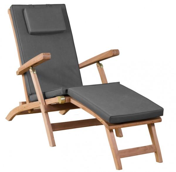 Deckchair Woodie inkl. Auflage uni grey