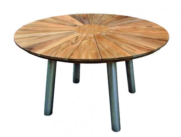 Tisch Fjord Edelstahl Teak ø 130cm deVries